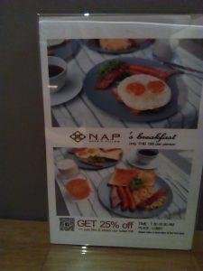 Nap hotel 朝食メニュー