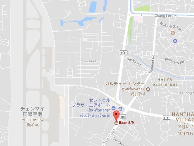 チェンマイ空港付近の地図