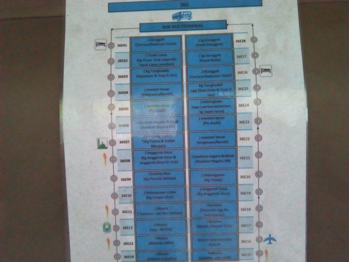 ブルネイのバス路線図