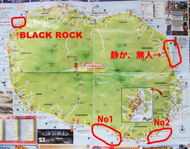 ラロトンガ島の地図