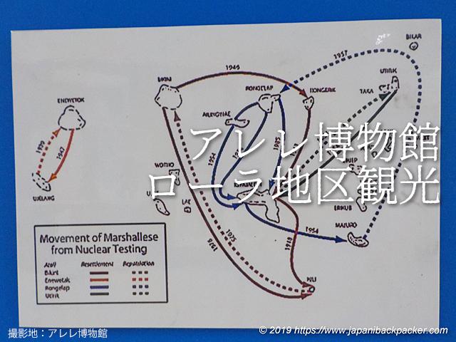 マーシャル諸島人の核実験からの移動図