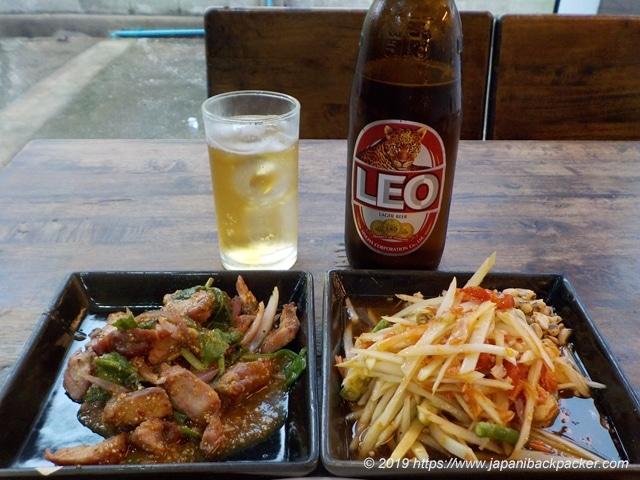 ソムタム、肉サラダ、LEO