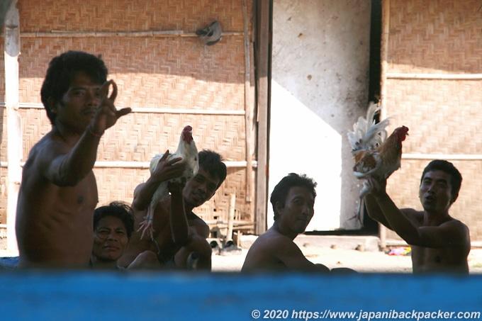 鶏を掲げるレンボンガン島の住民