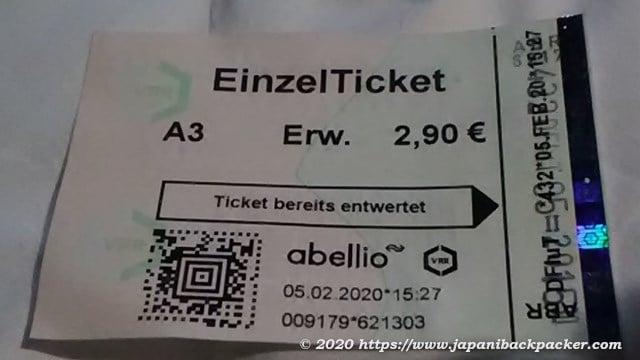 デュッセルドルフの電車切符