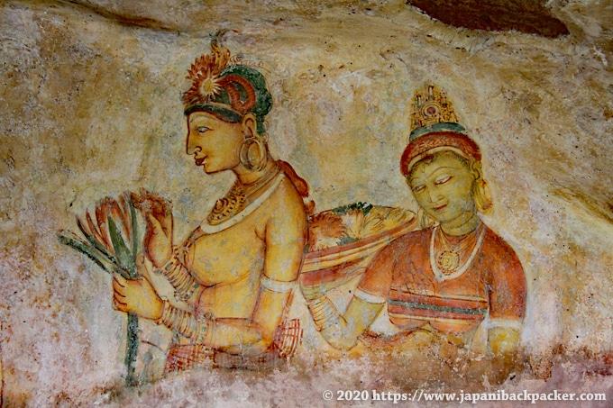 シーギリヤ・レディ 保存状態が良い壁画