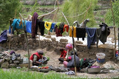 ラダック 洗濯する女性