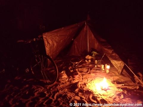 自転車キャンプ 焚火